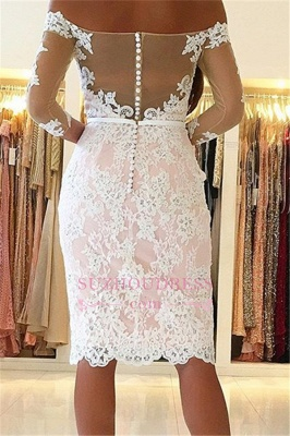 Sexy Appliques Off-the-Shoulder Pink Long-Sleeves Sheath Homecoming Dress BA6859_1