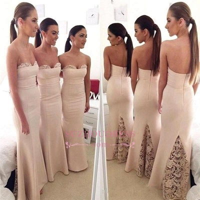 Long Mermaid Sweetheart Cheap Formal Dresses  Elegant Lace Bridesmaid Dress_1