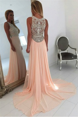 Coral Pink Chiffon Crystals Prom Dresses  Sleeveless Beading Popular Long Evening Gown_1