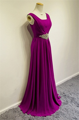 Blue Chiffon Long Prom Dresses Crystal Elegant Sweep Train Popular Evening Gowns_4