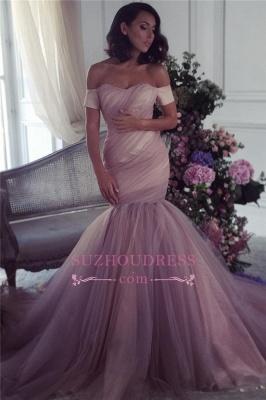 Off The Shoulder Mermaid Tulle Ruffles Formal Dress  Elegant Lalic Evening Dress_3