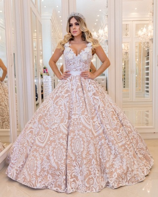 White Lace Champagne Wedding Dresses Cheap  | Sexy V-neck Open Back Puffy Bridal Gowns_3