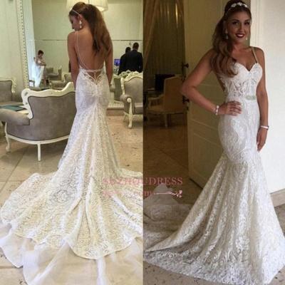 Elegant Backless Mermaid Spaghetti-Straps Lace Wedding Dresses_1