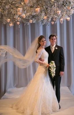 Elegant Wedding Dress long Sleeve Sweep Train Zipper Back Vestidos De Noiva Applique White Lace Wedding Dress_3