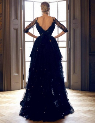 Dark Navy Lace Prom Dresses Robe de Bal Princesse High Low Dresses for Evening_3