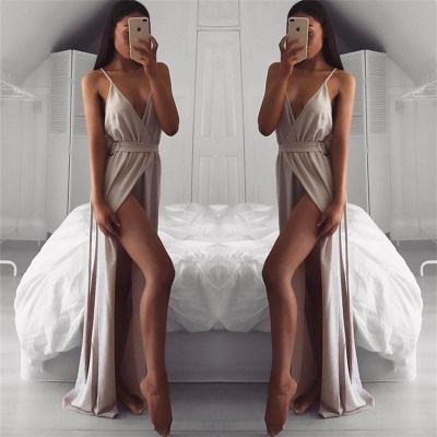Straps V-neck Sleeveless Evening Dresses  | Side Slit Sexy Formal Dresses For Party_3