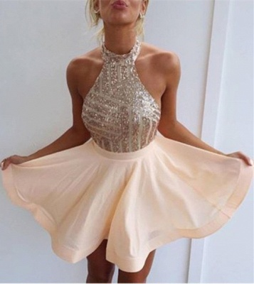 Sequin Halter Mini  Homecoming Dresses Cute Sleeveless Short Summer Gowns BA3349_1
