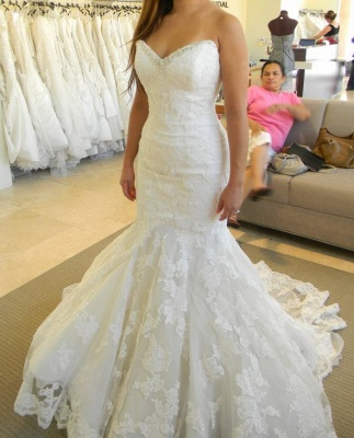Strapless Mermaid Wedding Dresses with Bling Bling Beads Lace Sleeveless Wedding Gowns_3