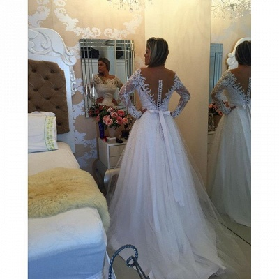 Long Sleeve Lace Bowknot Wedding Dress New Arrival A-Line  Bridal Gown BMT122_3