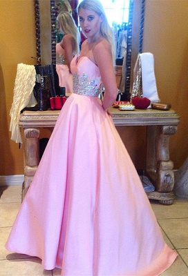Cute Pink Sweetheart Empire Prom Dress Latest Sweep Train Formal Occasion Dress_1