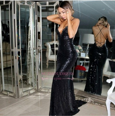 Black Sleeveless Mermaid Evening Gowns  Sequined Sexy Sweep-Train Prom Dress BA5407_1
