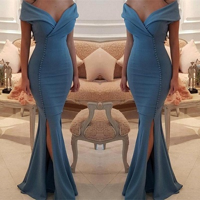 Sexy Simple Off the Shoulder Mermaid Prom Dresses  Side Slit Evening Dresses with Buttons_3