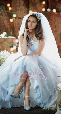 Applique Ice Blue Long Bridal Dresses  Tulle Delicate Sleeveless Wedding Dresses_4