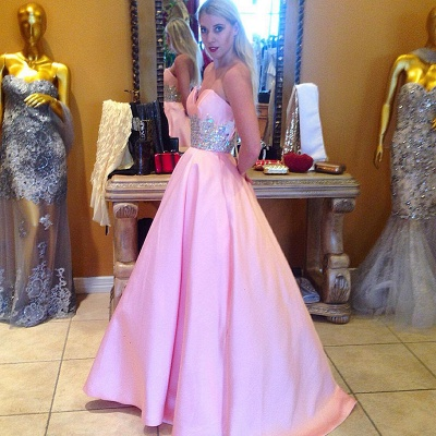 Cute Pink Sweetheart Empire Prom Dress Latest Sweep Train Formal Occasion Dress_3