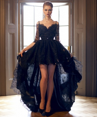 Dark Navy Lace Prom Dresses Robe de Bal Princesse High Low Dresses for Evening_1