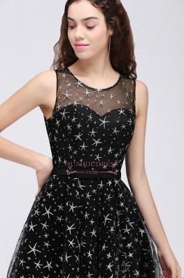 Short Modest Sleeveless Zipper A-line Belt Illusion Homecoming Dress_2