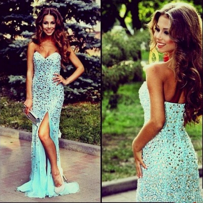 New Arrival Sweetheart Crystal Long Evening Dress with Sequins Sleeveless Sweep Train Prom Gowns_2