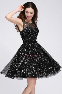Short Modest Sleeveless Zipper A-line Belt Illusion Homecoming Dress_4