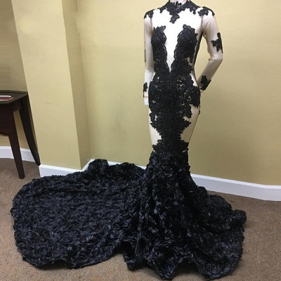 Black Lace Appliques See Through Prom Dresses | Long Train Ruffles Sexy Evening Dress FB0334_3