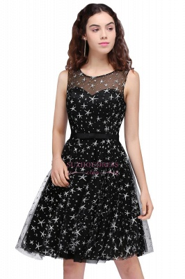 Short Modest Sleeveless Zipper A-line Belt Illusion Homecoming Dress_1