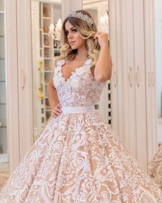 White Lace Champagne Wedding Dresses Cheap  | Sexy V-neck Open Back Puffy Bridal Gowns_4