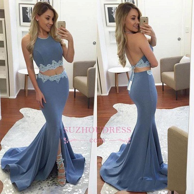 Mermaid Appliques Sexy Front-Split Halter Two-Pieces Backless Prom Dress BA4779_1