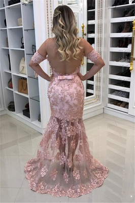 Elegant Off-the-Shoulder Pink Mermaid Prom Dresses  Appliques Evening Gowns with Beadings_3