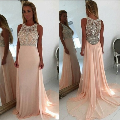 Coral Pink Chiffon Crystals Prom Dresses  Sleeveless Beading Popular Long Evening Gown_3