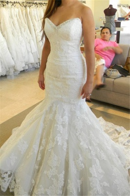 Strapless Mermaid Wedding Dresses with Bling Bling Beads Lace Sleeveless Wedding Gowns_1
