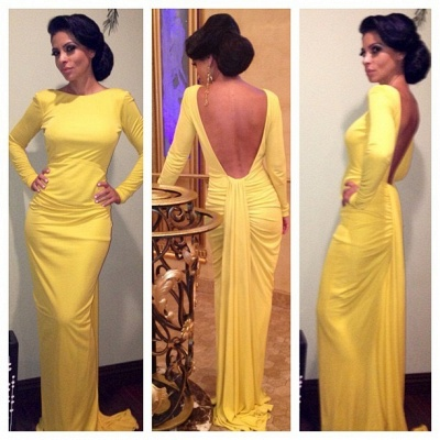 Yellow Mermaid Simple Prom Gowns  Open Back Long Sleeve Sexy Evening Dresses_2