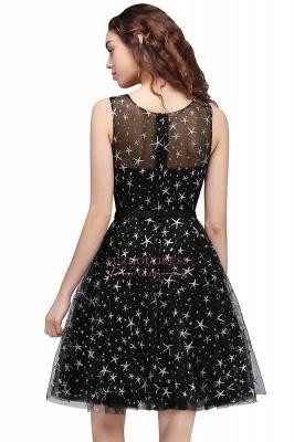 Short Modest Sleeveless Zipper A-line Belt Illusion Homecoming Dress_5