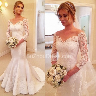 Sexy Mermaid V-Neck 3/4 Long Sleeve Wedding Dress White Lace Plus Size Bridal Gowns BA7484_2