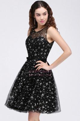 Short Modest Sleeveless Zipper A-line Belt Illusion Homecoming Dress_6