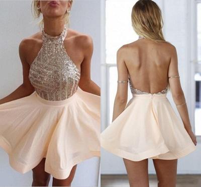 Sequin Halter Mini  Homecoming Dresses Cute Sleeveless Short Summer Gowns BA3349_4