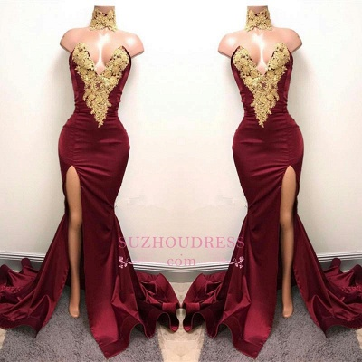 Lace Appliques Mermaid Burgundy Evening Gown  Front Split High Neck Sexy Prom Dress BA5998_1