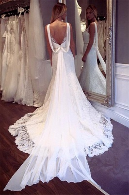 Elegant Lace Mermaid Sleeveless Wedding Dresses | Open Back Crystall Bridal Gowns_3