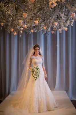 Elegant Wedding Dress long Sleeve Sweep Train Zipper Back Vestidos De Noiva Applique White Lace Wedding Dress_2