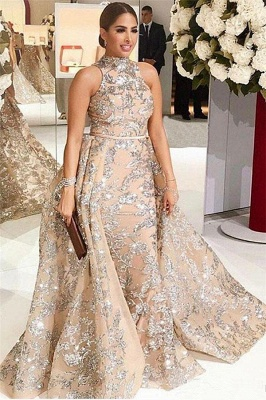 Gorgeous High-Neck Silver Beading Lace Prom Dress Appliques Sleeveless Champagne Formal Dresses Online_1