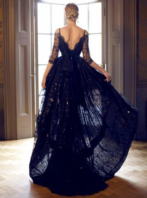 Dark Navy Lace Prom Dresses Robe de Bal Princesse High Low Dresses for Evening_2
