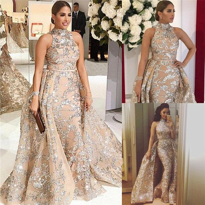 Gorgeous High-Neck Silver Beading Lace Prom Dress Appliques Sleeveless Champagne Formal Dresses Online_3