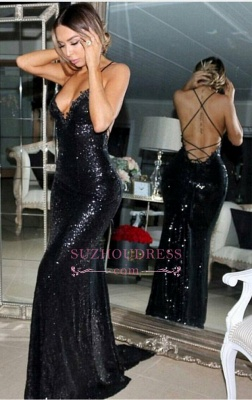 Black Sleeveless Mermaid Evening Gowns  Sequined Sexy Sweep-Train Prom Dress BA5407_3