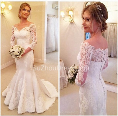 Sexy Mermaid V-Neck 3/4 Long Sleeve Wedding Dress White Lace Plus Size Bridal Gowns BA7484_3
