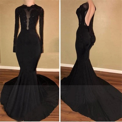 Sexy Black Mermaid Backless Prom Dresses  Long Sleeves Appliques Evening Gowns BA7880_3