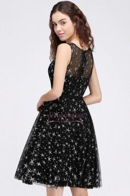 Short Modest Sleeveless Zipper A-line Belt Illusion Homecoming Dress_3