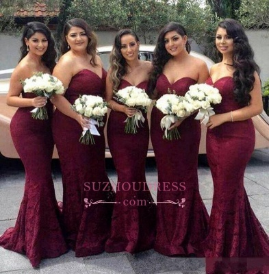 Sweetheart-Neck Mermaid Lace Long Burgundy Bridesmaid Dress_1