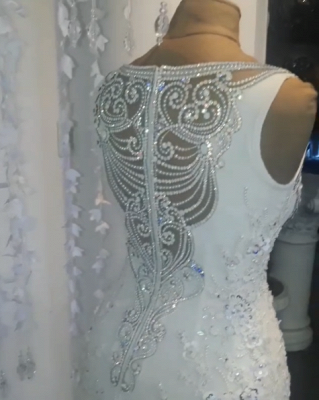 Vintage Jewel Lace Mermaid White Wedding Dresses Sleeveless Crystals Appliques Bridal Gowns On Sale_4