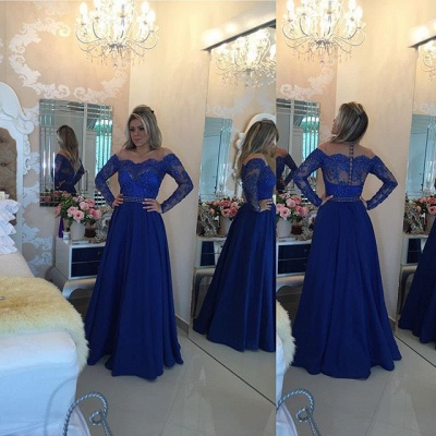 A-Line Long Sleeve Royal Blue  Prom Dress New Arrival Beading Party Dresses_4