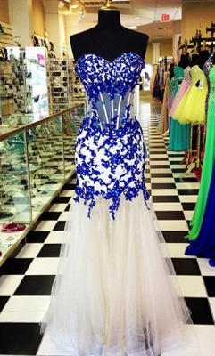 Elegant Sweetheart Royal Blue Prom Dress Crystal Tulle Long Formal Occasion Dresses_1
