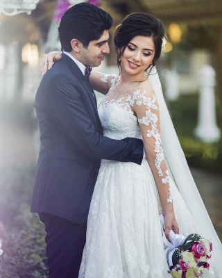 Long Sleeve Lace Wedding Dresses  | Ball Gown Long Train See Through Back Bride Dress_4