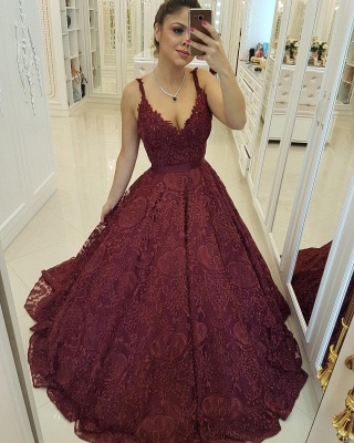 Deep V-neck Burgundy Lace Sexy Evening Dresses | Sleeveless Puffy Ball Gown  Prom Dresses_3